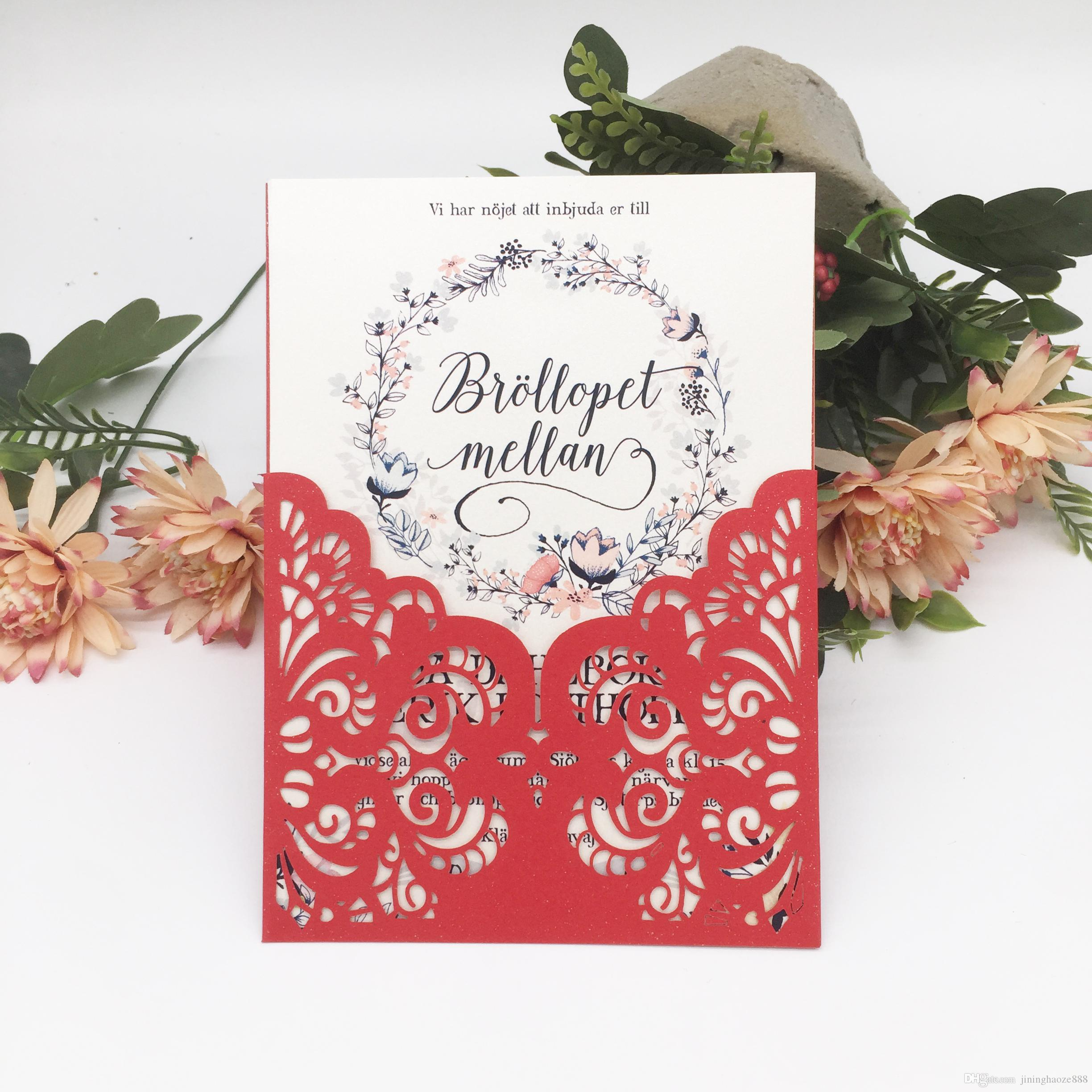 Chinese Red Sample Elegance Style Invitation Card With Wedding Birthday Party Supplies Decoration With Hollow Laser Cut Flower Invitation Cards Party