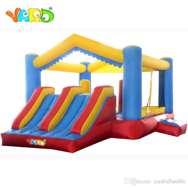 Jardim residencial de salto residencial Dual slide trampolim inflável ar jumper leounger combo com corrediça