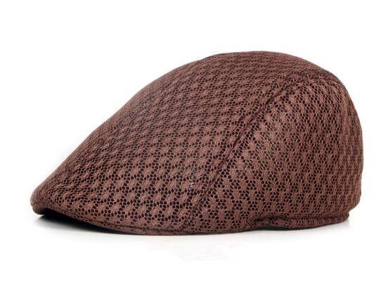 Hat Korean version of men and women berets solid color hollow mesh caps forward caps breathable summer sun hat