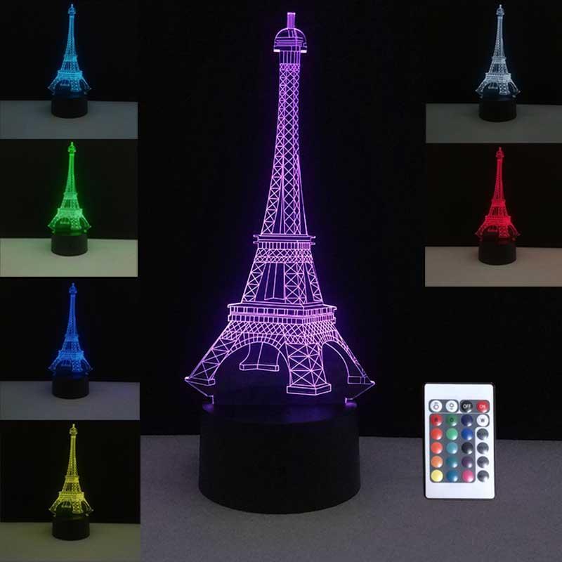 3D táctil de colores Lámparas de mesa LED USB lámpara Francia París Torre Eiffel Humor de la noche luces de la habitación decoración de la boda decoración de casas por vacaciones