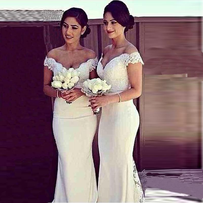 V-neck sereia vestidos de noiva marfim até o chão Custom Made Vestidos dama de honra