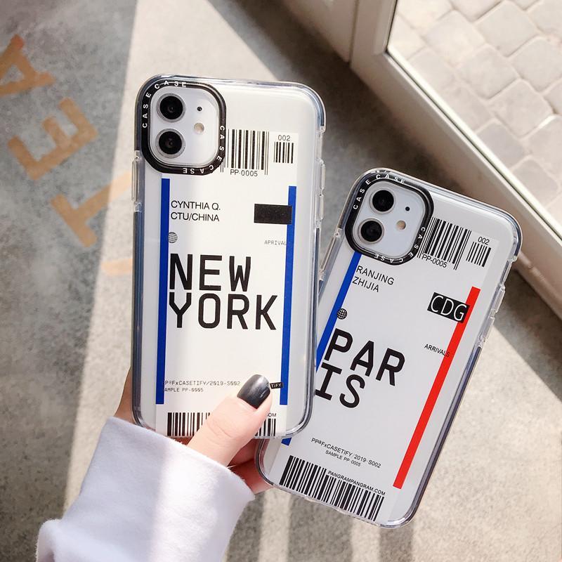 حالة تغطية نوعية واضحة عالية TPU نيويورك باريس تذكرة الهاتف الخليوي لآيفون 11 الموالية ماكس 7 8 زائد س XR XS ماكس