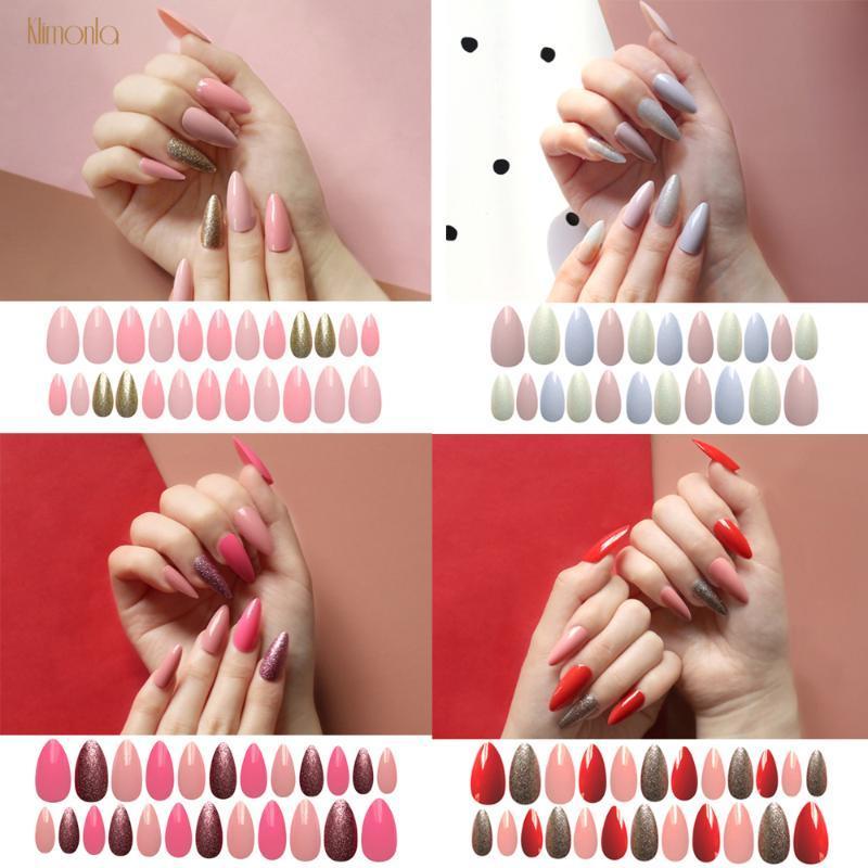 24Pcs/Set Long Almond Salon Art False Nails Acrylic Nail Tips For Nail Full Cover Stiletto Pointy Press On Fingernails Desiged
