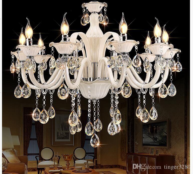 Champagne Branco candelabro de cristal moderna candelabro lustre de cristal Decoração Tiffany Pingentes e Lustres Iluminação para casa