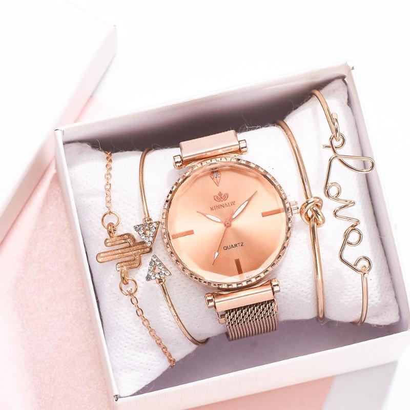 Ladies Bracelet Wrist Watches Women Rose Gold Magnetic Female Watch Rhinestone Clock montre femme 5PCS