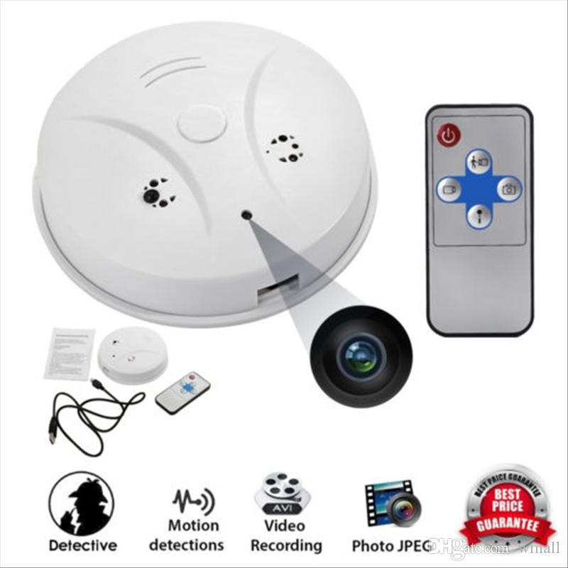 Mini Camera Indoor Smoke Detector Pinhole camera DVR with Remote control Motion Detection Video Recorder Pet baby Monitor Nanny Cam Free DHL