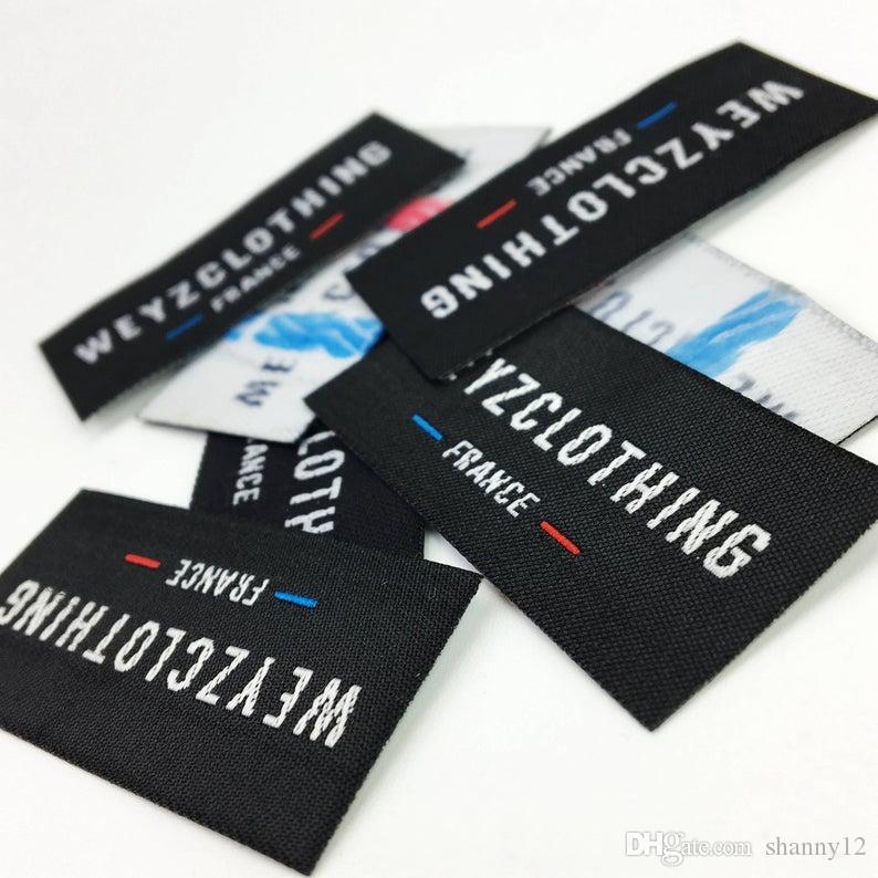 Black Size Tab Labels XXS XS S M L XL XXL 3XL 4XL Woven Clothing Garment Size