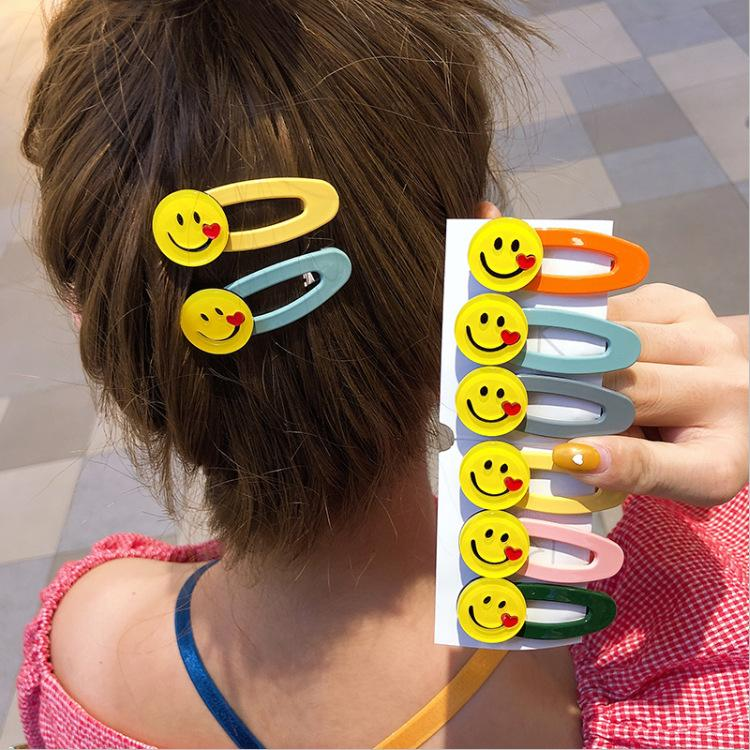 120pcs/lot DIY Simple Multi Alloy Happy Face Hair BB Clip Bang Loving Hearts Hairpins Hair Styling Tool Accessories HA1069 SH190927