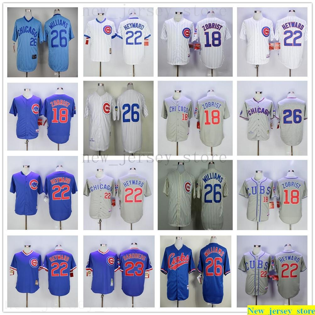 2019 Man Bayan Çocuk Beyzbol Formalar Dikişli 18 Ben Zobrist 22 Jason Heyward 26 Billy Williams Jersey rengi beyaz, sarı, gri, mavi