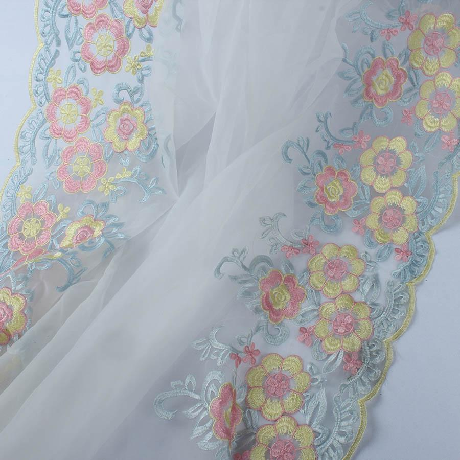 Apparel Sewing Lace Fabric for Dress African Organza Flower Embroidery By Yard