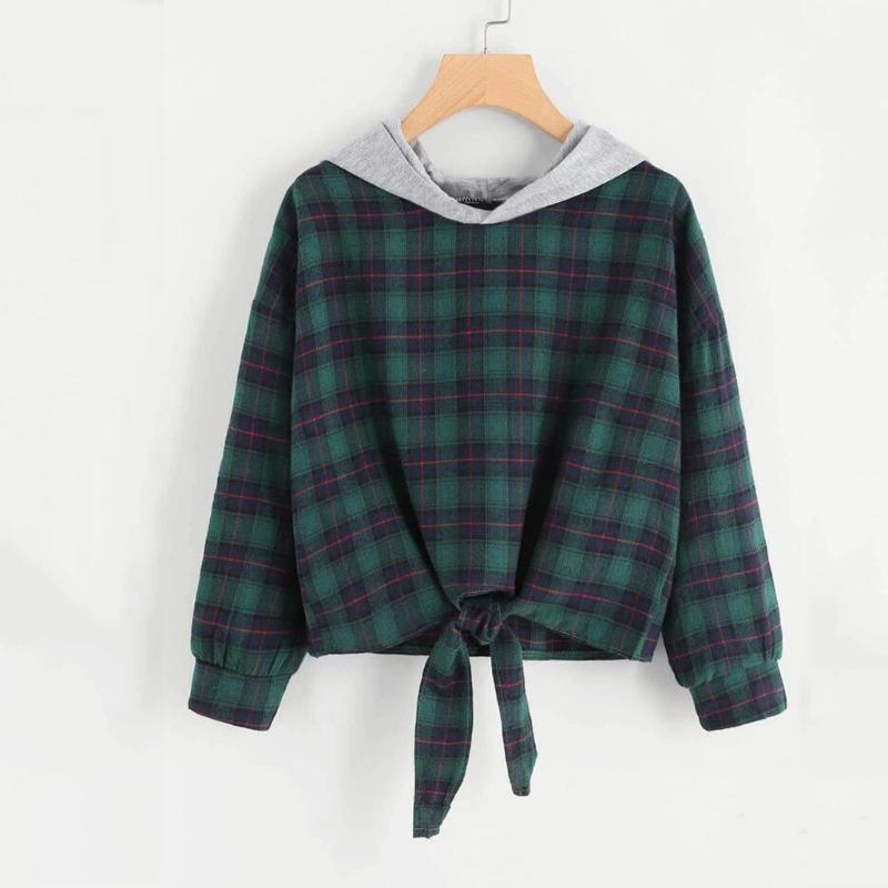 Classic Plaid Women High Waist Hoodies Autumn Long Sleeve Hip Rock Dance Sweatshirts Tops Teen Girls Casual Pullovers Cotton