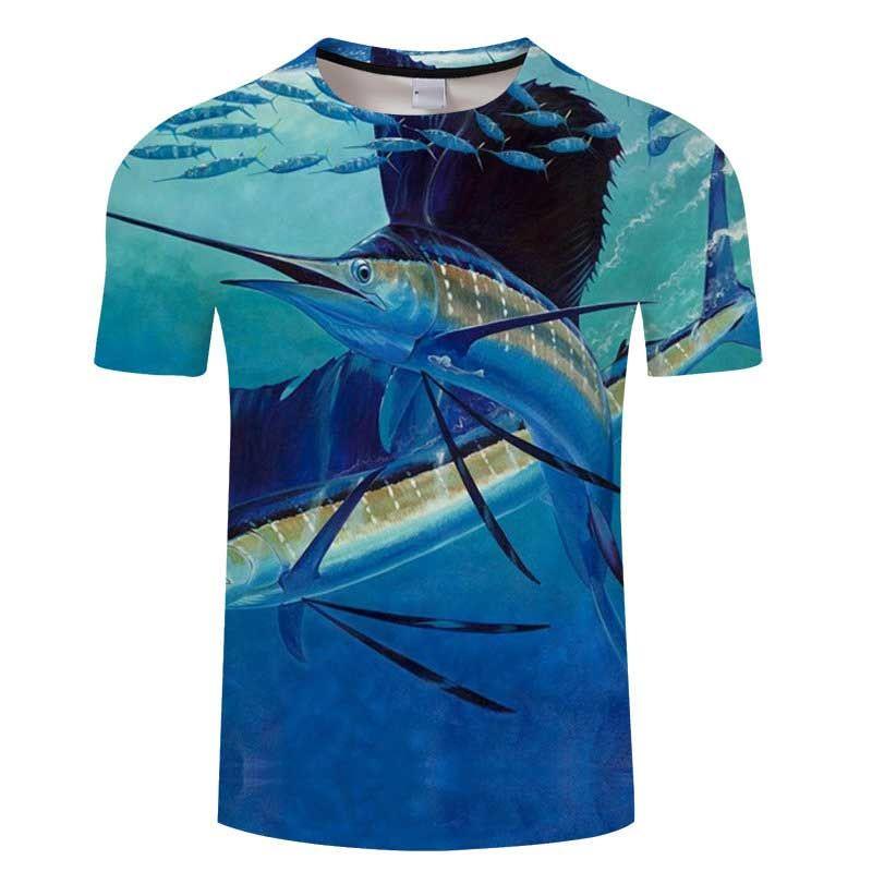 2019 nuevos Peces de cola larga impresos en 3D camisetas de los hombres Envían camisetas Camisetas delgadas para hombre del verano ocasional para hombre tshort camisas de manga