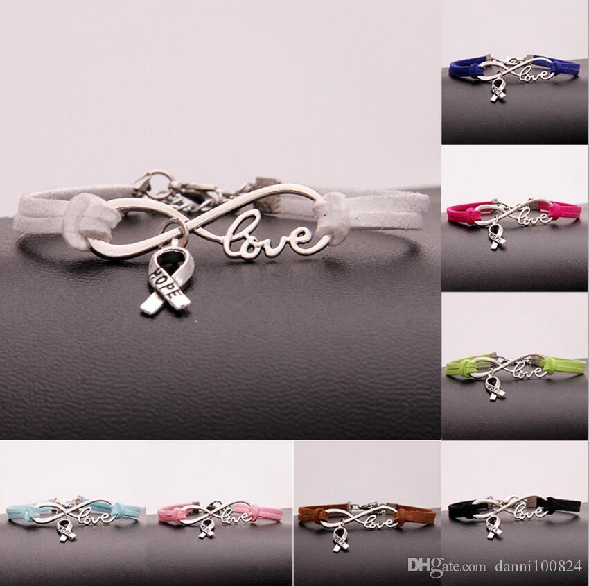 Hot 10pcs/lot Infinity Love 8 Bow-Knot Hope pendant Bracelet Charm Pendant Women/Men Simple Bracelets/Bangles Jewelry Gift A148