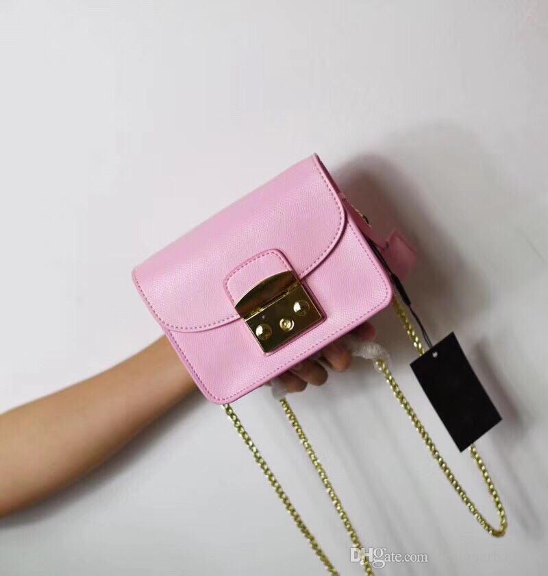 New Designer Mulher Puro couro Bolsa Moda Cadeia de Luxo Crossbody Flap Bag Mini Bolsa de Ombro de Alta Qualidade Real Bolsa De Couro Sacos de Tote