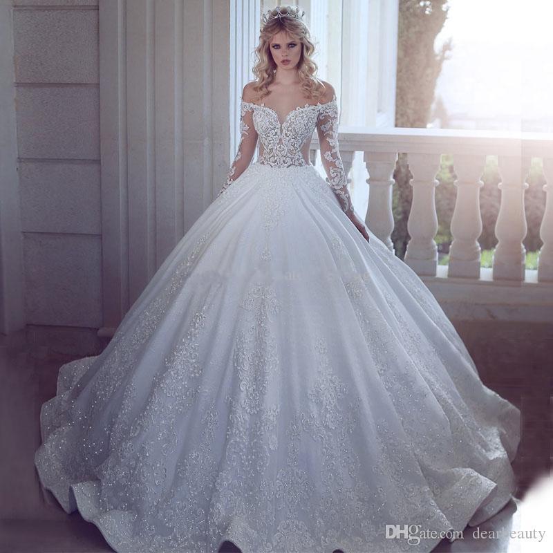화려한 긴 소매 볼 가운 웨딩 드레스 어깨 아플리케 레이스 새틴 층 길이 럭셔리 웨딩 드레스 끄기