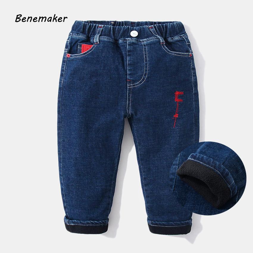 Benemaker Boy Fleece Jeans For Boy Autumn Pants Elastic Waist Children Clothing Baby Kids Denim Pants Casual Warm Trousers Jh143 Y19051103