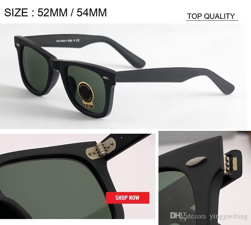 commercio all'ingrosso di arrivo Vintage piazza 52 millimetri 54 millimetri delle donne UV400 occhiali da sole Designer TOP Nuova lente di vetro di marca Orignal Retro Occhiali da sole 2140 Occhiali