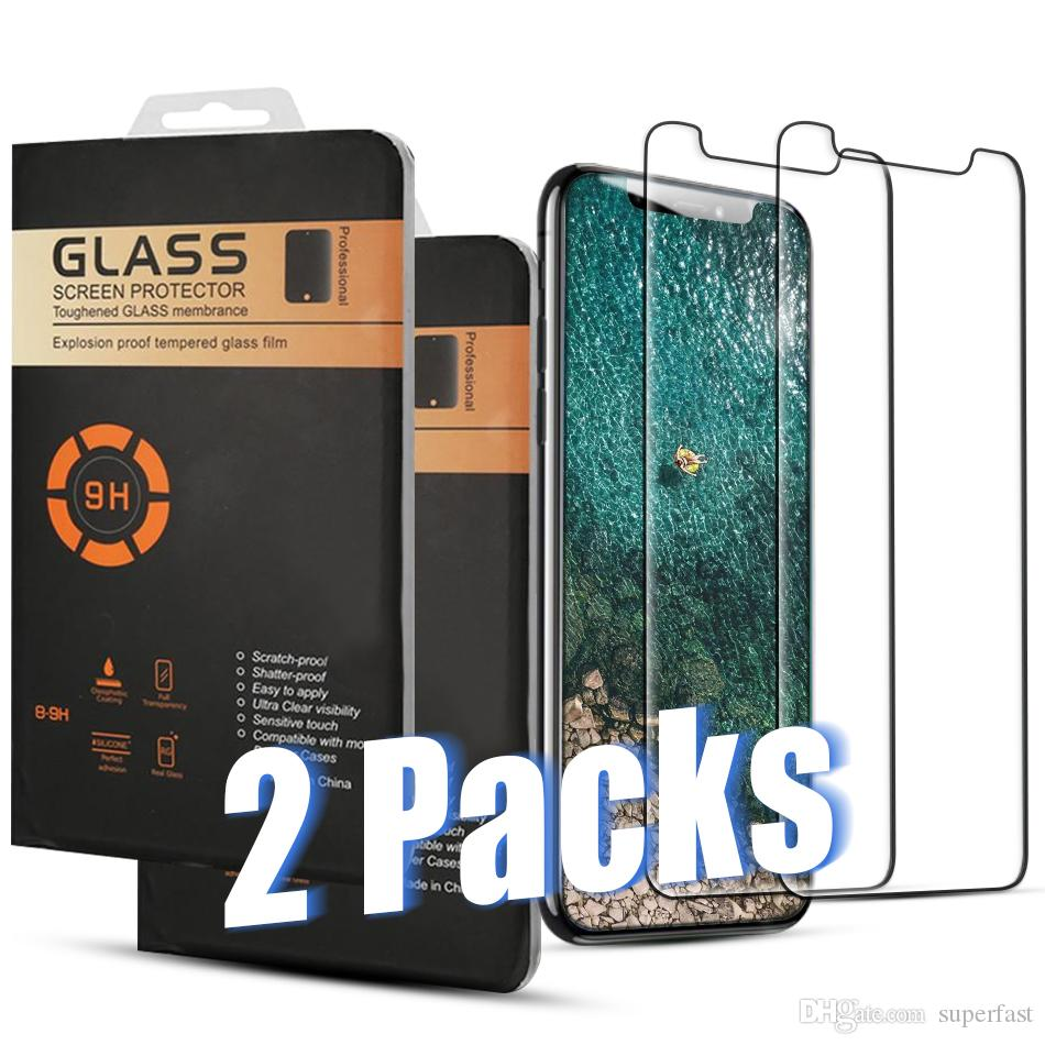 2 Packs Tempered Glass For iPhone 11 Pro Max XR XS 8 7 Plus Samsung A11 A21 A41 A70 MOTO G7 LG Stylus5 Screen Protector Film with Retail Box