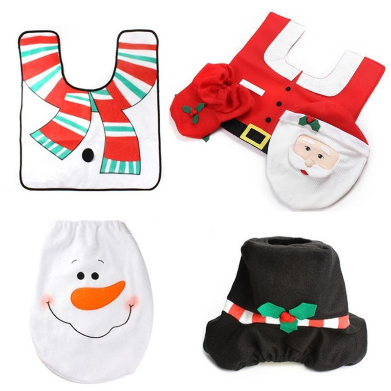 Christmas Decoration Santa Toilet Seat Cover Paper Rug Bathroom Set