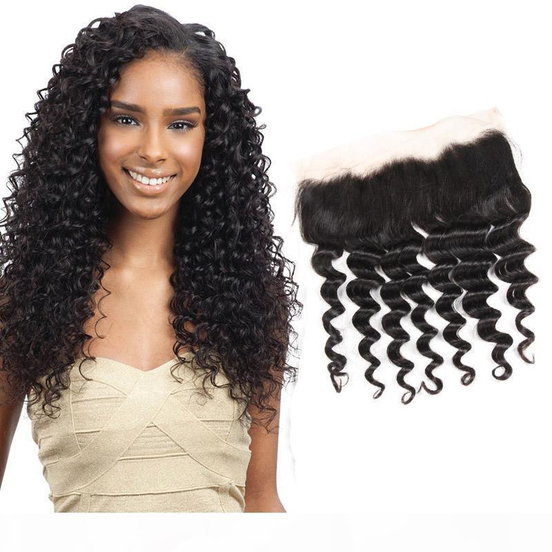 Malásia não transformados Humano 13x4 cabelo Lace frontal onda profunda Curly 13 por 4 Ear frontal do cabelo com o bebê na Orelha Virgin Cabelo Top Closures 8-22q