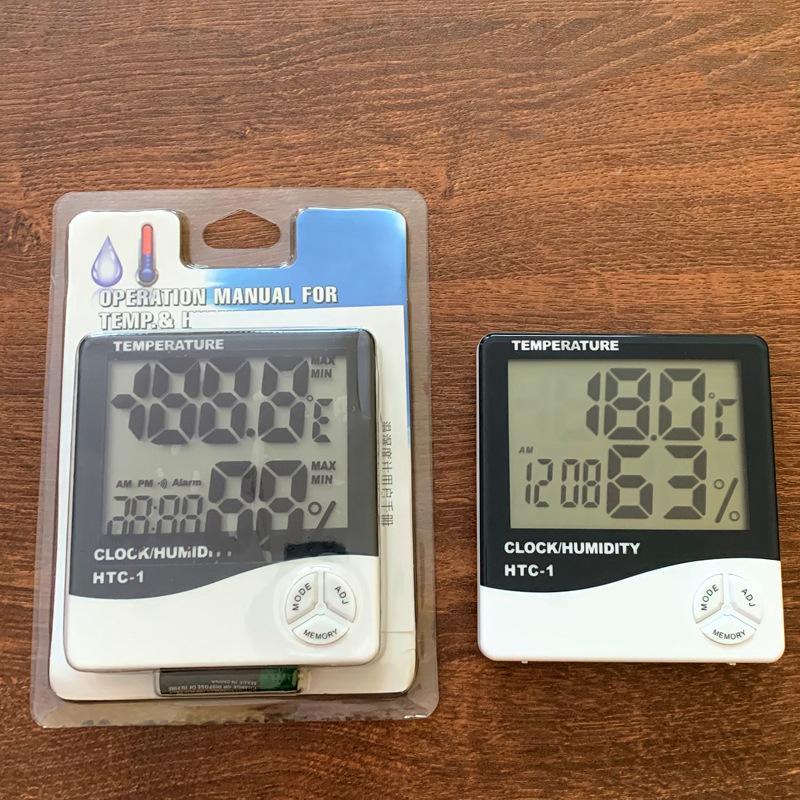 درجة حرارة LCD الرقمية رطوبة الرطوبة متر ميزان الحرارة مع تنبيه على مدار الساعة التقويم HTC-1 100 قطعة