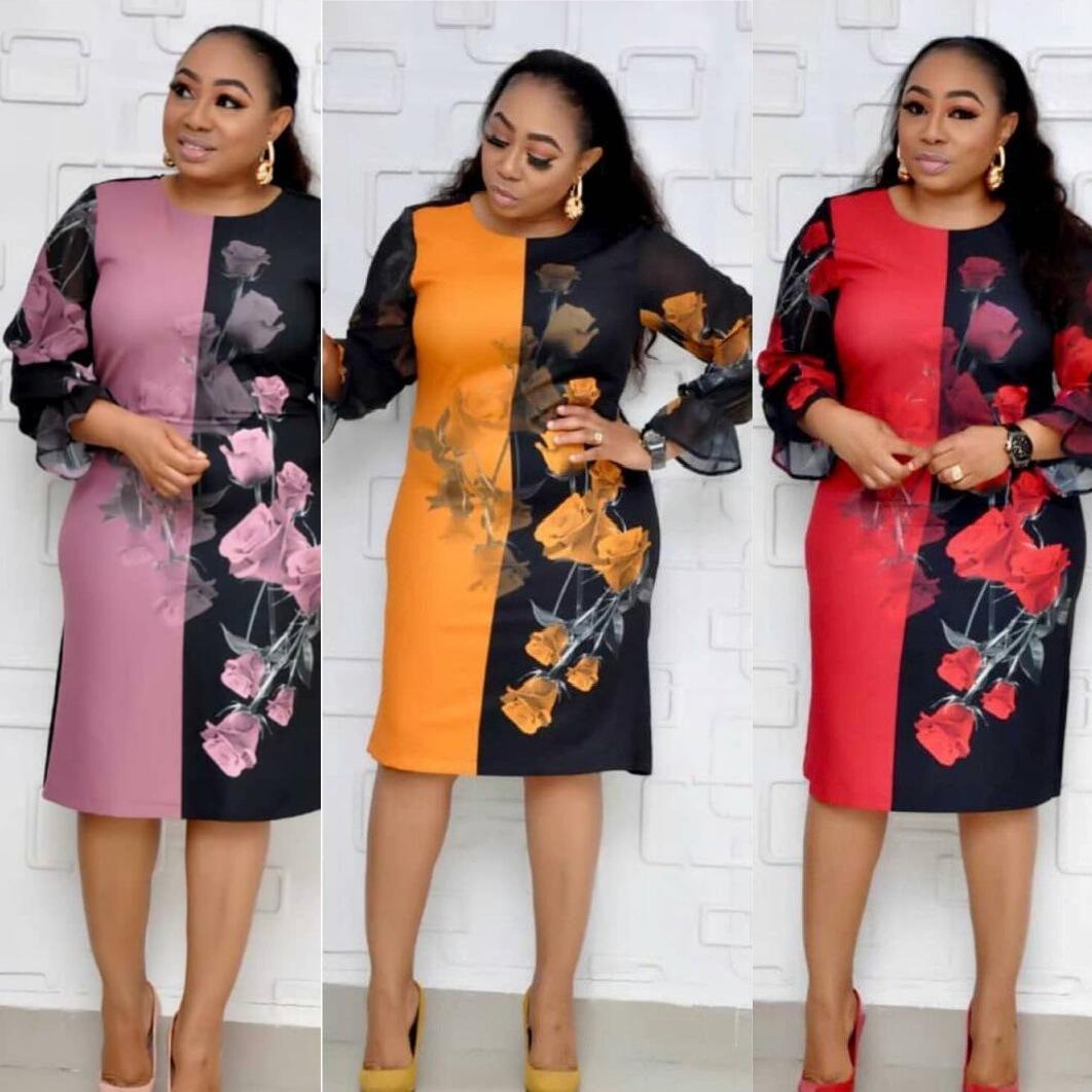 dikiş elbise kadınlar şifon Afrikalı moda anne elbise çok renkli çiçek baskı
