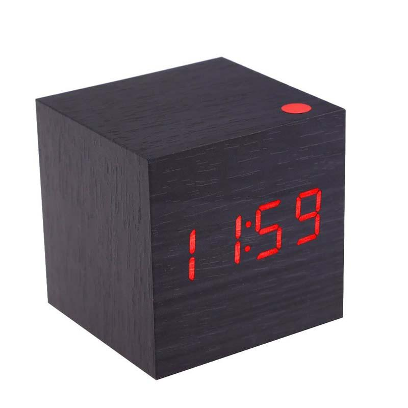 Classic Multifunction Square Wood Digital Alarm Clock Calendar Thermometer for House Office (Black + Red)