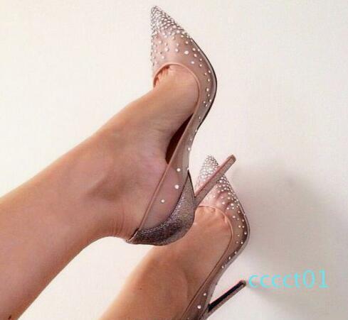 Red Bottoms Follies Strass Sneakers Scarpe a punta con borchie chioda Rivetti cristalli Scarpe Donna da sposa Lady-pattino dell'alto tallone CT1