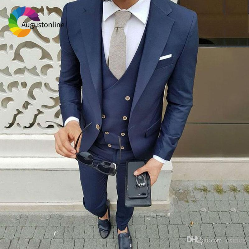 New Brand 2018 Wine Red Groom Tuxedo Men Wedding Suits Double Breasted Slim Fit Suit Prom Dresses Fashion Men Suits Costume Homme 3Piece