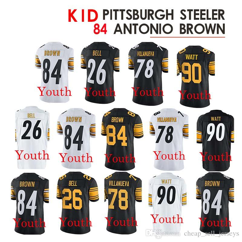 1b935dfa 2019 Kid Pittsburgh 84 Antonio Brown Steeler Jerseys 26 Le'Veon Bell 78  Alejandro Villanueva 90 T.J. Watt Children From Cheap_sell_jerseys, $23.5    ...