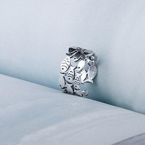 Реальные 925 Рыба Кольца серебряные для женщин Регулируемая Обручальное кольцо Мода стерлингового-серебро-ювелирные изделия для девочек подарок