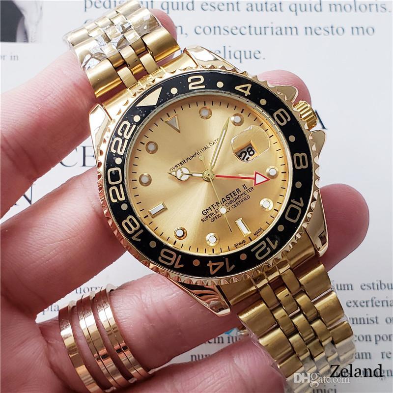 Top-Marke Master GMT Herren-Luxus-Uhren 3A Roségold Armbanduhr 44mm Herrenuhr Edelstahl Quarz Kalender Iced Out Uhr Keramik