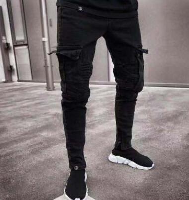 Stilvolle 19SS Herren Designer Jeans 2019 Frühling Schwarz Ripped Distressed Holes Design Jean Bleistift Hosen Taschen Hommes Pantalones