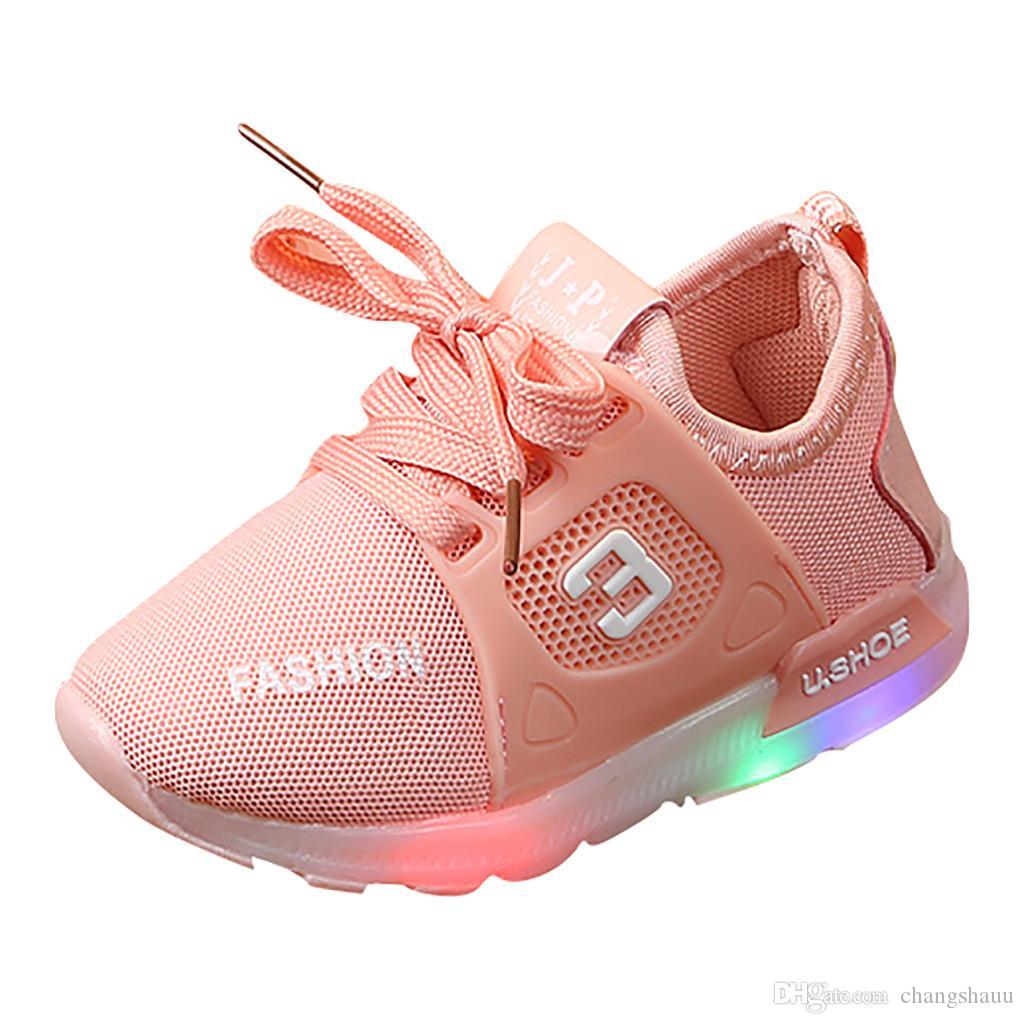 Детская обувь унисекс дети малыш дети девочка мальчик Сид светлые ботинки на шнуровке мягкий световой открытый спортивные светодиодные сандалии