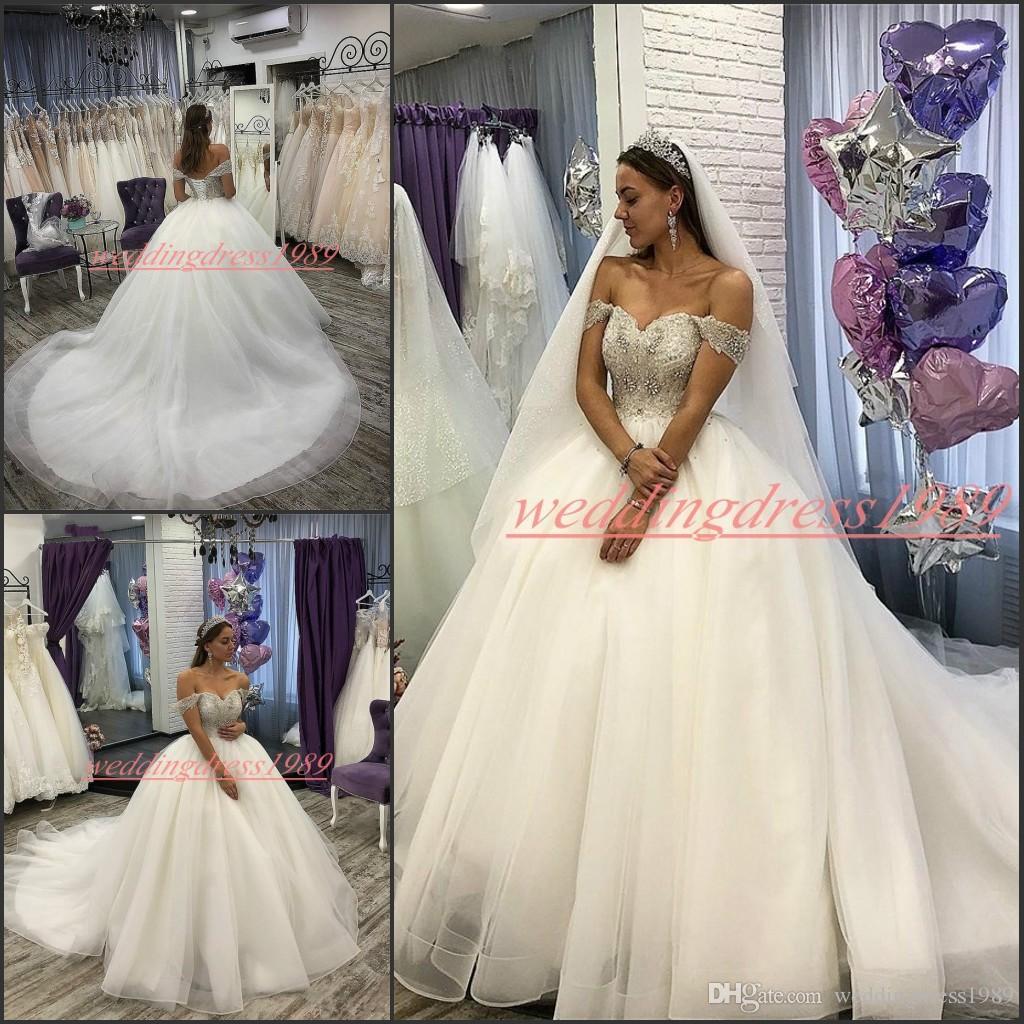 Charming Plus Size Off Schulter Brautkleider Perlen Pailletten-Zug-Tulle 2020 Vestido de novia Said Mhamad Braut Ball Formal Brautkleid