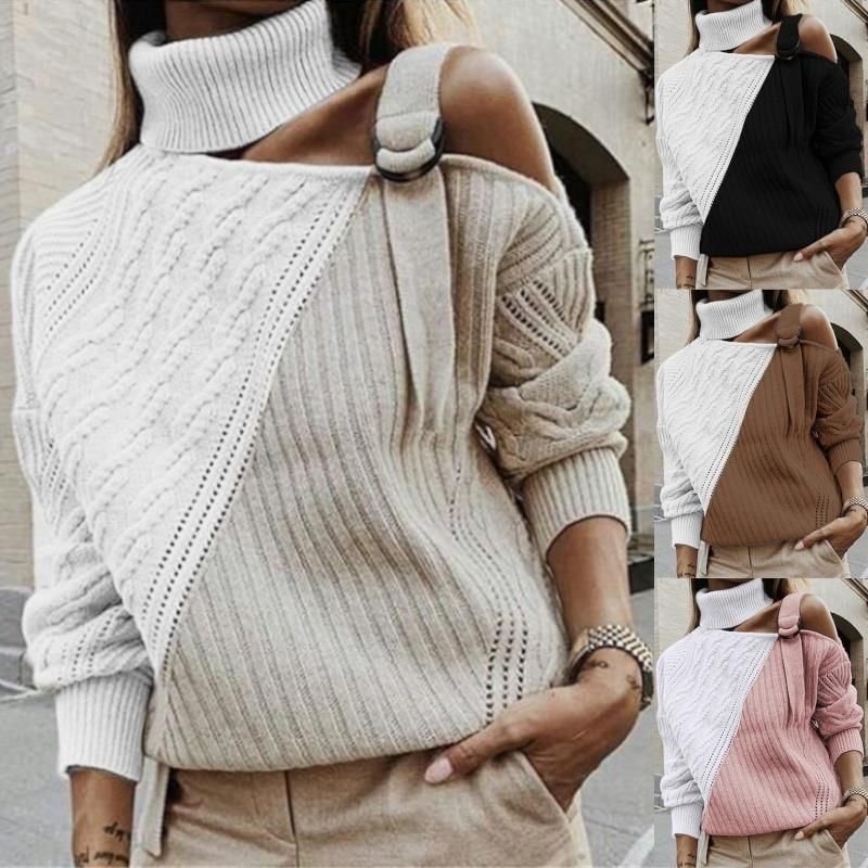 Womens New Design Contrast Color Patchwork Knitted Crochet Hollow Out Pullover Top Fashion Street Female Turtleneck Sweater