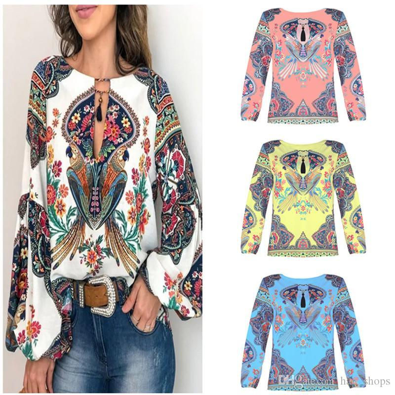 Fashion Women T Shirt Bohemian Style Blouse Lantern Sleeve O-neck Shirts Tops Causal Loose Blouses Pullover Female Design Blusas Top Clothes