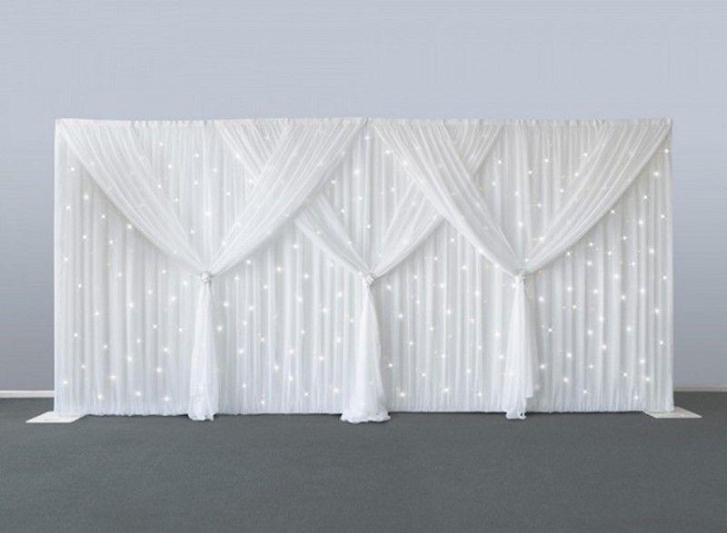10ft س 20ft الزفاف الخلفيات الصرفة الأبيض الحرير الجليد الستار الزواج الديكور الحجاب حزب مرحلة خلفية الدعائم لوازم شحن مجاني