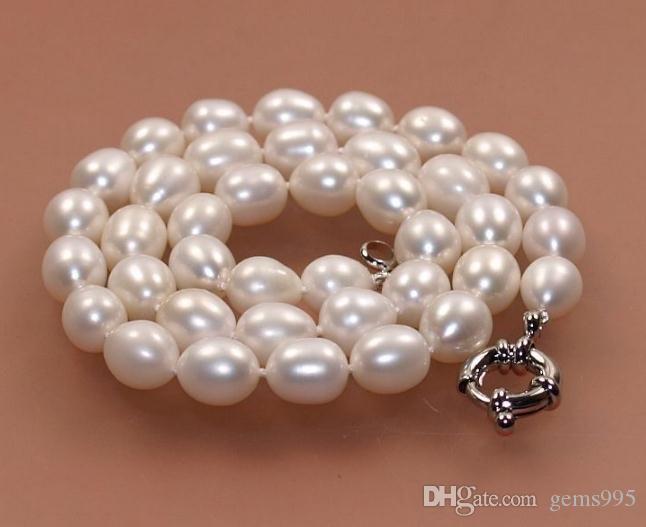 Collier de perles de culture 8-9mm naturel eau douce 18 pouces 925 fermoir en argent