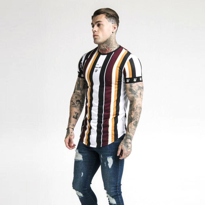 남성 의류에 대한 패션 남성 캐주얼 T 셔츠 반소매 그라데이션 siksilk O 목 T 셔츠 2019 브랜드 T 셔츠 새로운 남성