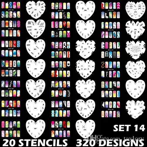 Маникюр Трафареты Инструменты DIY Дизайн Аэрография 20 шт. Многоразовый шаблон листа для аэрографии Kit Nail Art Paint Set