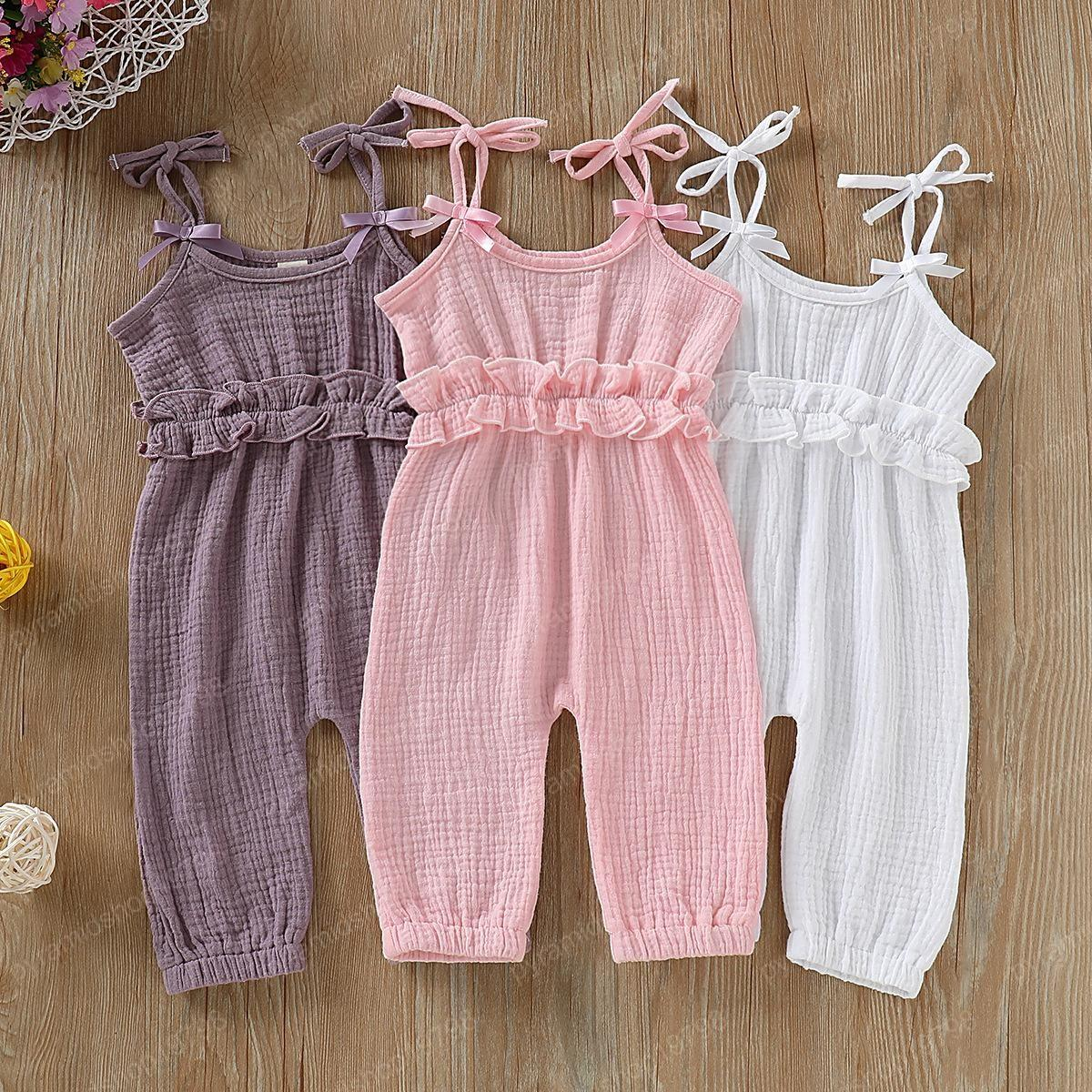 KIDSA Baby Toddler Girl Summer Romper Outfit Sleeveless Sling Soft Cotton Linen Jumpsuiut Clothes