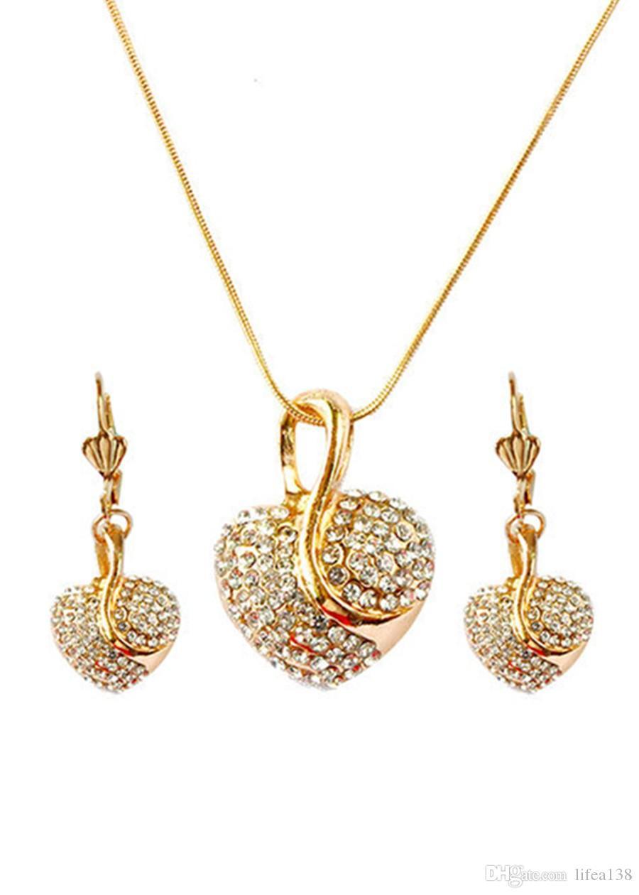 Kostenloser versand Modeschmuck Luxus Gold-farbe Romantische Österreichische Kristall Herzform Kette Halskette Ohrringe Schmuck Sets