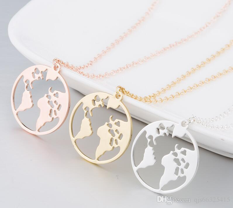 Globe World Map Necklace Earth Day Gift For Best Friends Wanderlust Pendants Personalized Fashion Outdoor Necklace Best
