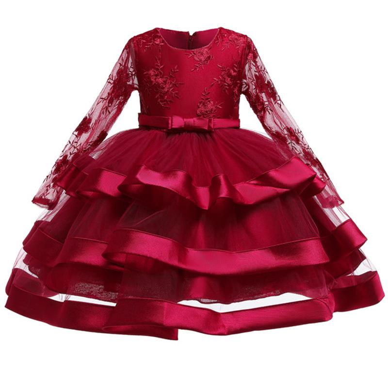 High Quality Lace Sequined Big Bow Tutu Princess Dress For Girl 2018 Summer Girl Wedding Party Dress Size 3-12 Years Old MX190724