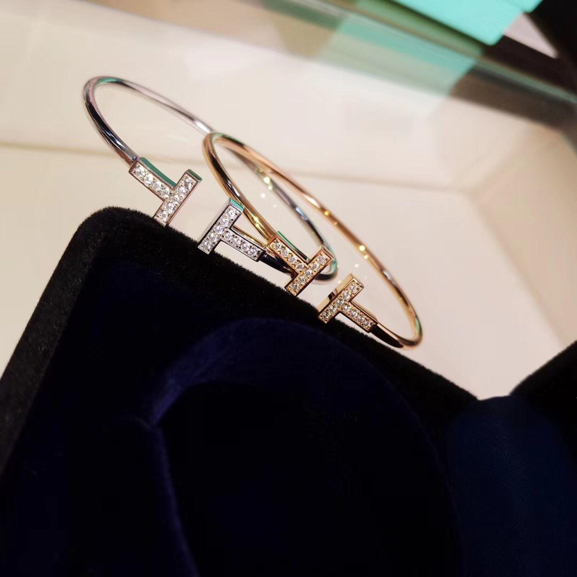 ربيع / صيف 2019 مطلية بالذهب الجديد مرونة T T مزدوجة سوار S925 الفضة الاسترليني مع الماس T مع الماس