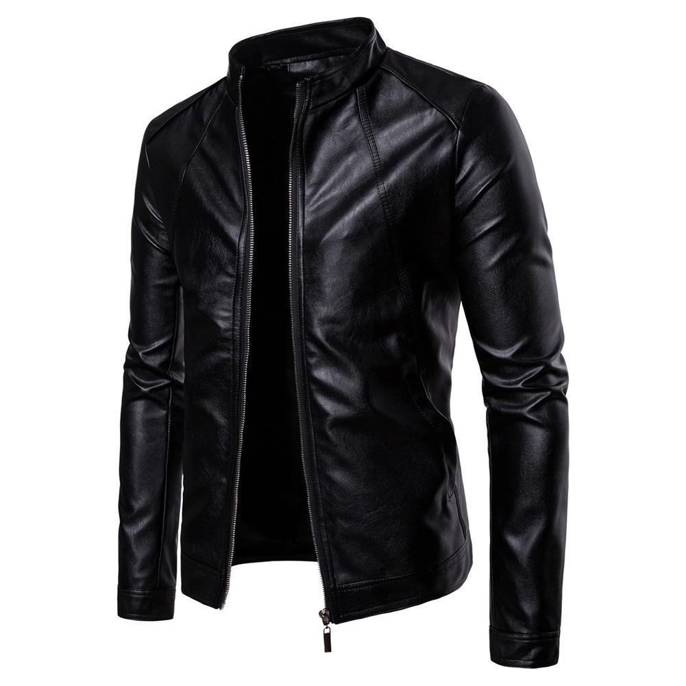 남성 슬림 자켓 패션 단색 오토바이 겨울 재킷 chaqueta 아저씨 방풍 블랙 가죽 자켓 kurtka의 skorzana