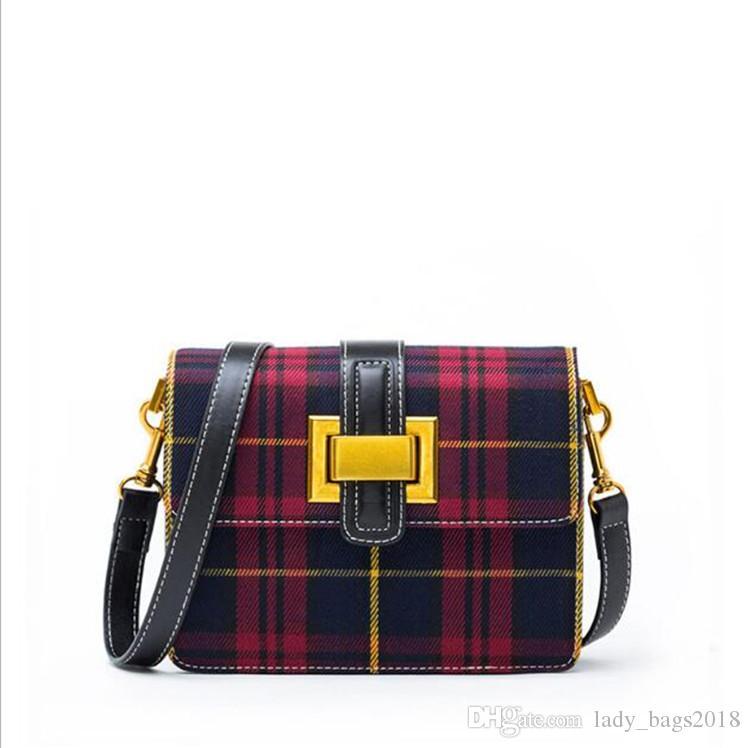 2019 New Designer Handbags Checkered Jacquard Genuine Leather Women Bag Crossbody Bag Brand Designer Messenger Bag Sac A Main