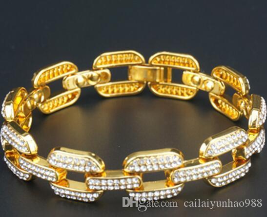 Estilo hip-hop quadrado longo 18k banhado a ouro diamante de água 14 milímetros de largura dos homens pulseira cubana