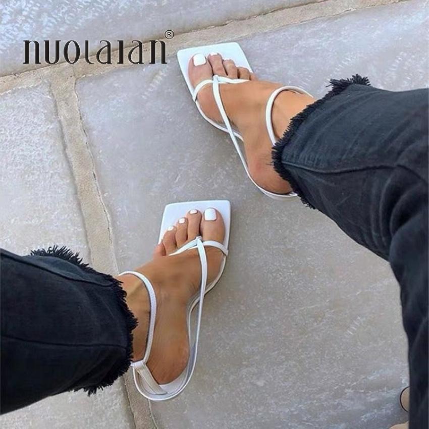 Été Sandales bande étroite Vintage bout carré Hauts talons Boucle Sangle talon haut Sandales Femmes V-cou Designer Shoes femmes S20326